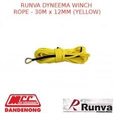 RUNVA DYNEEMA WINCH ROPE - 30M x 12MM YELLOW