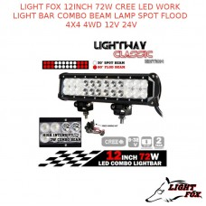 LIGHT FOX 12INCH 72W CREE LED WORK LIGHT BAR COMBO BEAM LAMP SPOT FLOOD