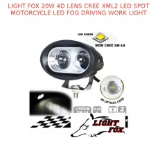 LIGHT FOX 20W 4D LENS CREE XML2 LED SPOT MOTORCYCLE DRIVING WORK LIGHT