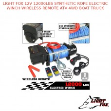 LIGHT FOX 12V 12000LBS SYNTHETIC ROPE ELECTRIC WINCH WIRELESS REMOTE