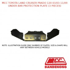 MCC UNDER BAR PROTECTION PLATE (3 PIECES) SUIT TOYOTA LAND CRUISER PRADO 120 (03/2003-11/2009)