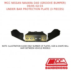MCC UNDER BAR PROTECTION PLATE (3 PCS) SUIT NISSAN NAVARA D40 (GB) (09/05-02/15)