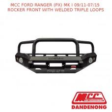 MCC BULLBAR ROCKER FRONT WITH WELDED TRIPLE LOOPS SUIT FORD RANGER (PX) MK I (09/2011-07/2015)