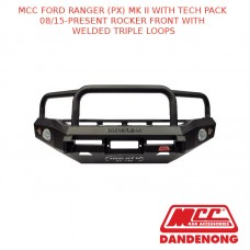 MCC BULLBAR ROCKER FRONT WITH WELDED TRIPLE LOOPS SUIT FORD RANGER (PX) MK II WITH TECH PACK (08/2015-PRESENT)