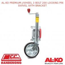 AL-KO PREMIUM J/WHEEL 3 BOLT 200 LOCKING PIN SWIVEL WITH BRACKET