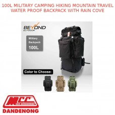 100L MILITARY CAMPING HIKING MOUNTAIN TRAVEL WATER PROOF BACKPACK WITH RAIN COVE
