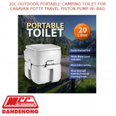 20L OUTDOOR PORTABLE CAMPING TOILET FOR CARAVAN POTTY TRAVEL PISTON PUMP W/ BAG