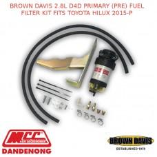 BROWN DAVIS 2.8L D4D PRIMARY (PRE) FUEL FILTER KIT FITS TOYOTA HILUX 2015-P