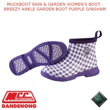MUCKBOOT RAIN & GARDEN WOMEN'S BOOT - BREEZY ANKLE GARDEN BOOT PURPLE GINGHAM