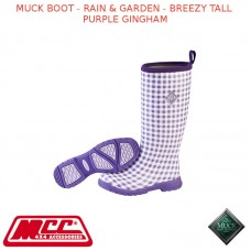 MUCK BOOT - RAIN & GARDEN WOMEN'S BOOT - BREEZY TALL PURPLE GINGHAM