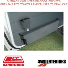 OUTBACK 4WD INTERIOR - DOOR POCKETS - GREY : PAIR TOYOTA LANDCRUISER 70 DUAL CAB