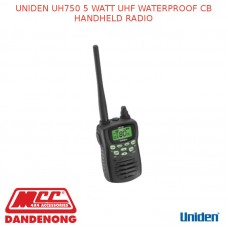 UNIDEN UH750 5 WATT UHF WATERPROOF CB HANDHELD RADIO