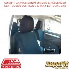 SUPAFIT CANVAS/DENIM DRIVER & PASSENGER SEAT COVER FITS ISUZU D-MAX LST DUAL CAB