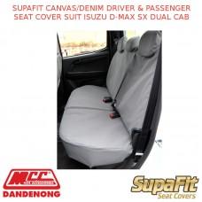 SUPAFIT CANVAS/DENIM DRIVER & PASSENGER SEAT COVER FITS ISUZU D-MAX SX DUAL CAB