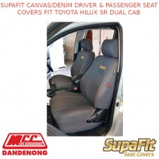 SUPAFIT CANVAS/DENIM DRIVER & PASSENGER SEAT COVERS FIT TOYOTA HILUX SR DUAL CAB