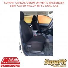 SUPAFIT CANVAS/DENIM DRIVER & PASSENGER SEAT COVER FITS MAZDA BT-50 DUAL CAB