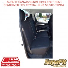 SUPAFIT CANVAS/DENIM 60/40 SPLIT REAR SEATCOVER FITS TOYOTA HILUX SR/SR5/TONKA