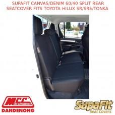 SUPAFIT CANVAS/DENIM 60/40 SPLIT REAR SEATCOVER FITS TOYOTA HILUX SR/SR5/TONKA
