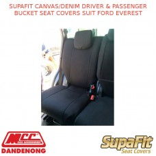 SUPAFIT CANVAS/DENIM DRIVER & PASSENGER BUCKET SEAT COVERS FITS FORD EVEREST
