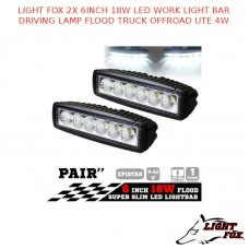 LIGHT FOX 2X 6INCH 18W LED WORK LIGHT BAR DRIVING LAMP FLOOD TRUCK OFFROAD UTE 4WD