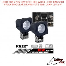 LIGHT FOX 2PCS 10W CREE LED WORK LIGHT BAR SPOT 870LM MODULAR DRIVING