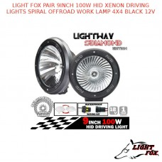 LIGHT FOX PAIR 9INCH 100W HID XENON DRIVING LIGHTS SPIRAL OFFROAD