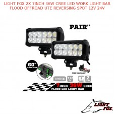 LIGHT FOX 2X 7INCH 36W CREE LED WORK LIGHT BAR FLOOD OFFROAD REVERSING