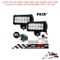 LIGHT FOX 2X 7INCH 36W CREE LED WORK LIGHT BAR FLOOD OFFROAD UTE  SPOT 12V 24V