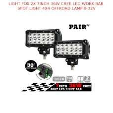 LIGHT FOX 2X 7INCH 36W CREE LED WORK BAR SPOT LIGHT 4X4 OFFROAD LAMP