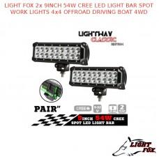 LIGHT FOX 2X 9INCH 54W CREE LED LIGHT BAR SPOT WORK LIGHTS 4x4 OFFROAD