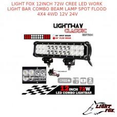 LIGHT FOX 12INCH 72W CREE LED WORK LIGHT BAR COMBO BEAM LAMP SPOT FLOOD