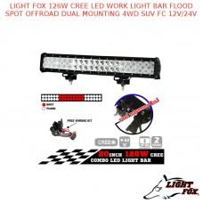 LIGHT FOX 126W CREE LED WORK LIGHT BAR FLOOD SPOT OFFROAD
