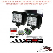 LIGHT FOX 2x 7INCH 72W CREE LED WORK BAR SPOT FLOOD LIGHT 4X4 OFFROAD