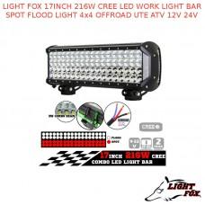 LIGHT FOX 17INCH 216W CREE LED WORK LIGHT BAR SPOT FLOOD LIGHT 4x4 OFFROAD