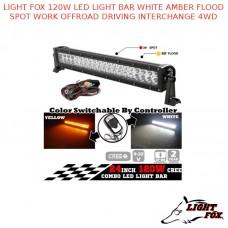 LIGHT FOX 120W LED LIGHT BAR WHITE AMBER FLOOD SPOT WORK OFFROAD