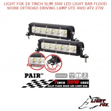 LIGHT FOX 2X 7INCH SLIM 30W LED LIGHT BAR FLOOD WORK OFFROAD LAMP