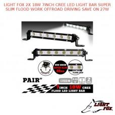 LIGHT FOX 2X18W 7INCH CREE LED LIGHT BAR SUPER SLIM FLOOD WORK OFFROAD