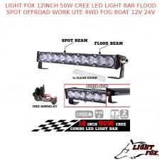 LIGHT FOX 12INCH 50W CREE LED LIGHT BAR FLOOD SPOT OFFROAD WORK