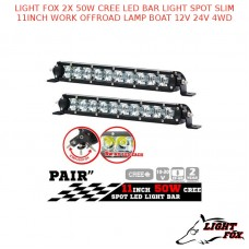 LIGHT FOX 2x 50W CREE LED BAR LIGHT SPOT SLIM 11INCH WORK OFFROAD LAMP
