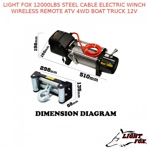 light fox 12000lbs steel cable electric winch wireless remote