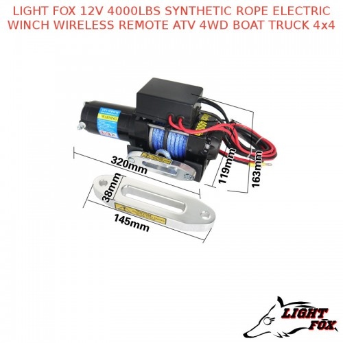 light fox 12v 4000lbs synthetic rope electric winch wireless