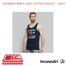 SWANNDRI MEN'S B-BOY COTTON SINGLET - NAVY