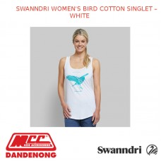 SWANNDRI WOMEN'S BIRD COTTON SINGLET - WHITE