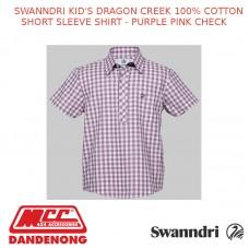 SWANNDRI KID'S DRAGON CREEK 100% COTTON SHORT SLEEVE SHIRT - PURPLE PINK CHECK