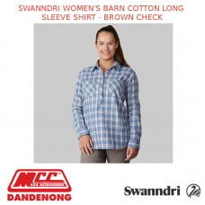 SWANNDRI WOMEN'S BARN COTTON LONG SLEEVE SHIRT - BROWN CHECK