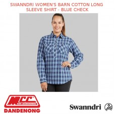 SWANNDRI WOMEN'S BARN COTTON LONG SLEEVE SHIRT - BLUE CHECK