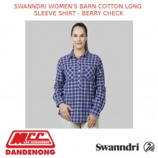 SWANNDRI WOMEN'S BARN COTTON LONG SLEEVE SHIRT - BERRY CHECK