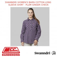 SWANNDRI WOMEN'S BARN COTTON LONG SLEEVE SHIRT - PLUM GINGER CHECK