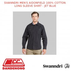 SWANNDRI MEN'S AIDONFIELD 100% COTTON LONG SLEEVE SHIRT - JET BLUE