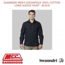 SWANNDRI MEN'S AIDONFIELD 100% COTTON LONG SLEEVE SHIRT - BLACK